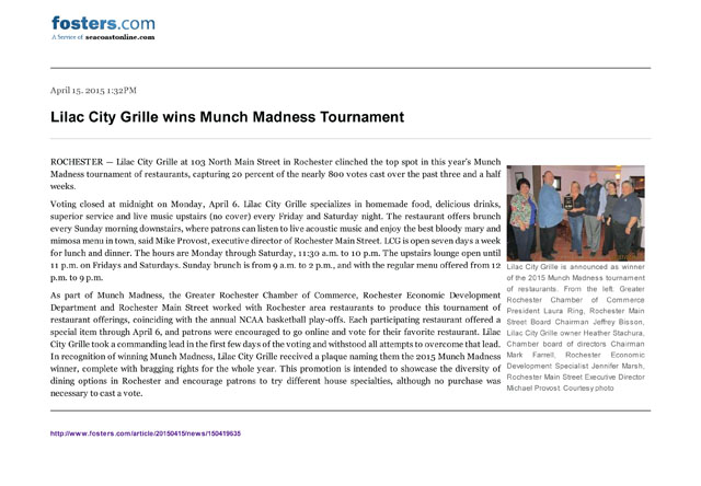 Lilac City Grille wins Munch Madness Tournament - Gate House